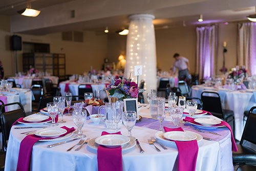 Purple Table setting for Fundraising Gala